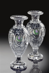 A PAIR OF BACCARAT CUT-GLASS V