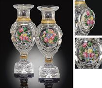 A PAIR OF ORMOLU-MOUNTED BACCARAT CUT-GLASS VASES