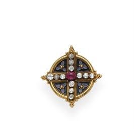 AN ANTIQUE DIAMOND, RUBY, ENAM