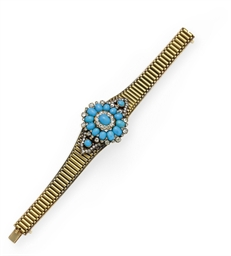 AN ANTIQUE TURQUOISE, DIAMOND