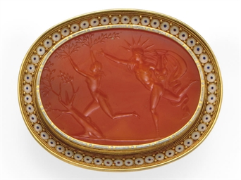 AN ANTIQUE CARNELIAN, ENAMEL A
