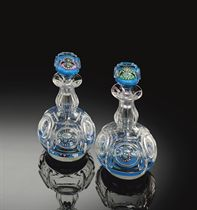 TWO CLICHY PATTERNED CONCENTRIC MILLEFIORI TURQUOISE-GROUND GLASS SCENT BOTTLES AND STOPPERS