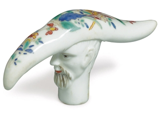 A FRENCH PORCELAIN CANE HANDLE