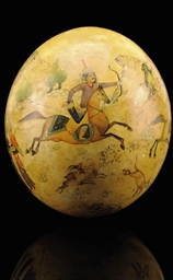 A QAJAR PAINTED OSTRICH EGG, I