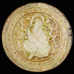 A LARGE KASHAN LUSTRE PAINTED