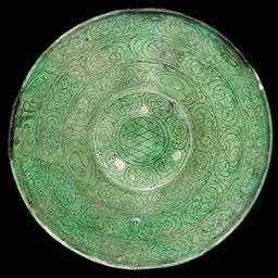 A GARRUS WARE GREEN GLAZED POT