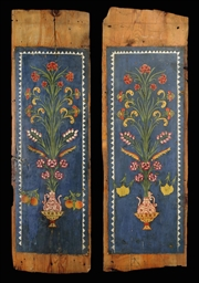 A PAIR OF OTTOMAN PAINTED WOOD