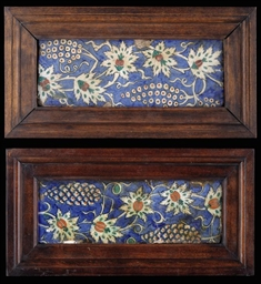 TWO IZNIK POTTERY BORDER TILES
