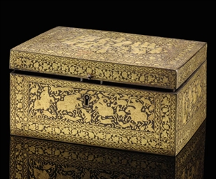 A QAJAR GILT DECORATED IRON BO