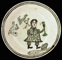 A QAJAR POTTERY BOWL WITH SMOK