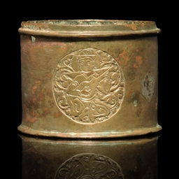 AN ENGRAVED KHORASAN INKWELL,