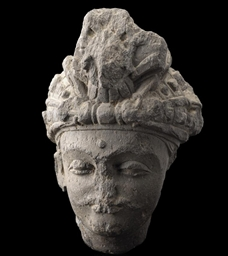A GANDHARA GREY SCHIST HEAD OF