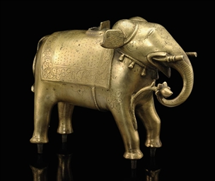 A MODEL OF A BRASS ELEPHANT, P