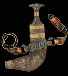 A JAMBIYYA WITH GILT DECORATED