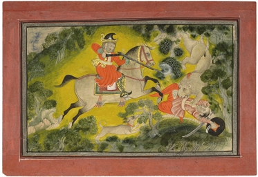 A LION HUNT, MEWAR, CIRCA 1720