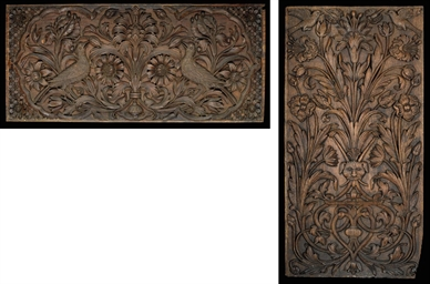 TWO CARVED WOOD PANELS, INDIA,