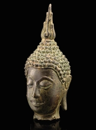A THAI BRONZE HEAD, CHIENG SEN