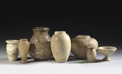 A GROUP OF EGYPTIAN ALABASTER