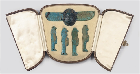 FOUR EGYPTIAN BLUE GLAZED COMP
