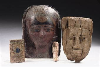AN EGYPTIAN GESS0-PAINTED CARTONNAGE FUNERARY MASK