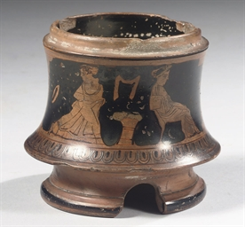 AN ATTIC RED-FIGURE TRIPOD PYX