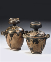 TWO ETRUSCAN RED-FIGURE POTTER