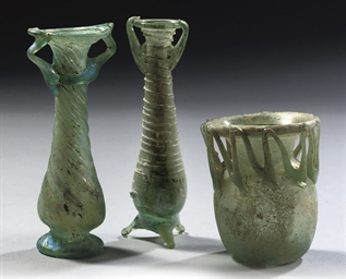THREE ROMAN GREEN GLASS TRANSL