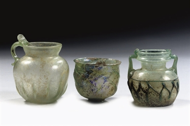THREE ROMAN GLASS VESSELS