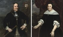 Portrait of Michiel de Ruyter (1607-1676), three-quarter-length, in a black costume with a lace jabot, holding a baton in his right hand, a seascape beyond; and Portrait of Anna van Gelder (1614-1685), three-quarter-length, in a black dress with a white collar and cuffs, a black headdress, standing before a curtain and holding a fan in her hand