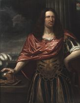 Portrait of Engel de Ruyter (1649-1678), three-quarter-length, dressed as a Roman general in an antique costume with a red wrap, standing before a curtain, his right hand resting on his helmet, a seascape beyond