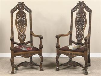 A PAIR OF DUTCH OAK ARMCHAIRS