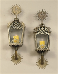 A PAIR OF GILT-METAL LANTERNS
