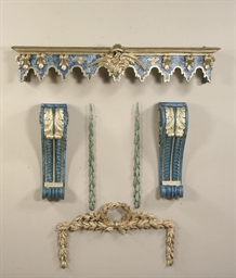 A PARCEL-GILT AND BLUE MARBLEI