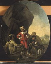 Three figures resting from the hunt with their dogs