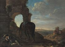 A young man sleeping in an Italianate landscape, his horse standing nearby