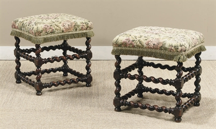A PAIR OF DUTCH WALNUT STOOLS