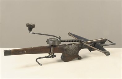 A FLEMISH TARGET CROSSBOW; AND