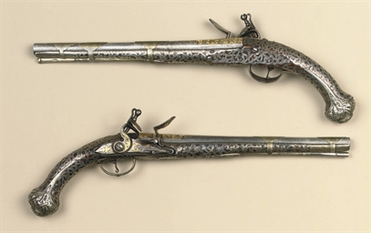 A PAIR OF TURKISH SILVER-MOUNT