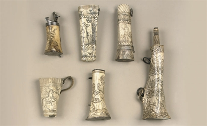AN ENGRAVED BONE POWDER-FLASK
