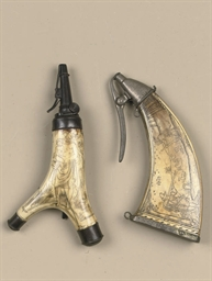 A GERMAN ENGRAVED STAG HORN PO