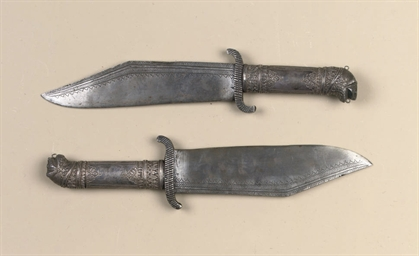 A PAIR OF INDIAN SILVER-MOUNTE