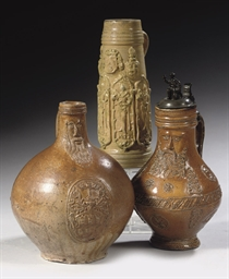 Two Rhenish stoneware Bellarmi