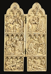 A CARVED IVORY DIPTYCH WITH SC