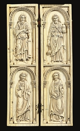 A PAIR OF CARVED IVORY PANELS
