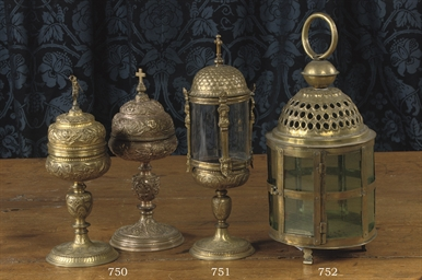 A GILT COPPER CIBORIUM