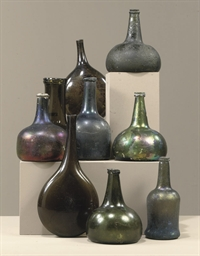 NINE VARIOUS GLASS BOTTLES