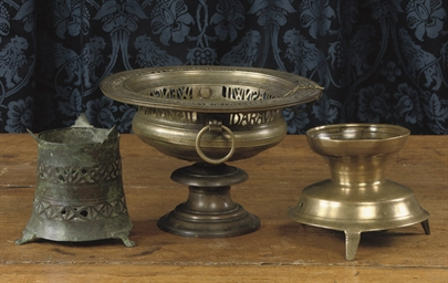 A GERMAN BRASS INCENSE BURNER