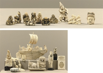 AN ASSORTED LOT OF ASIAN BONE AND IVORY CARVINGS