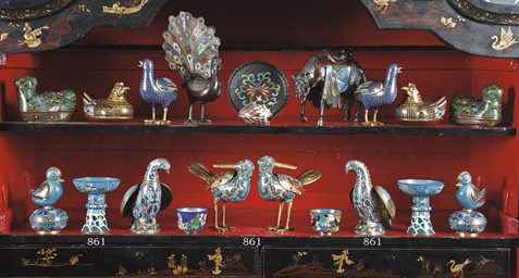 A PAIR OF CHINESE CLOISONNE MO