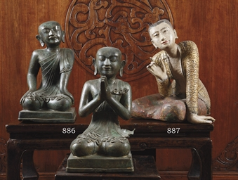 TWO BURMESE BRONZE FIGURES OF